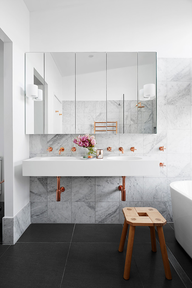 How To Add Marble And Copper To Your A Bathroom On A