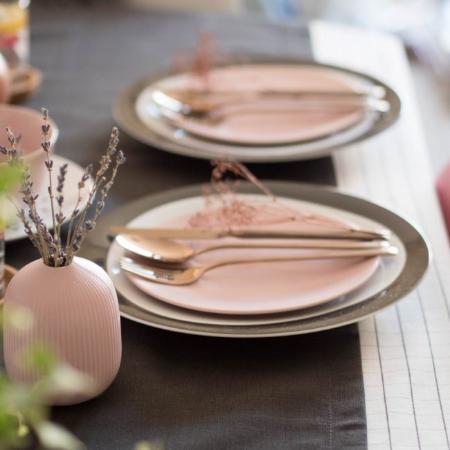 black rose gold and pink tabletop
