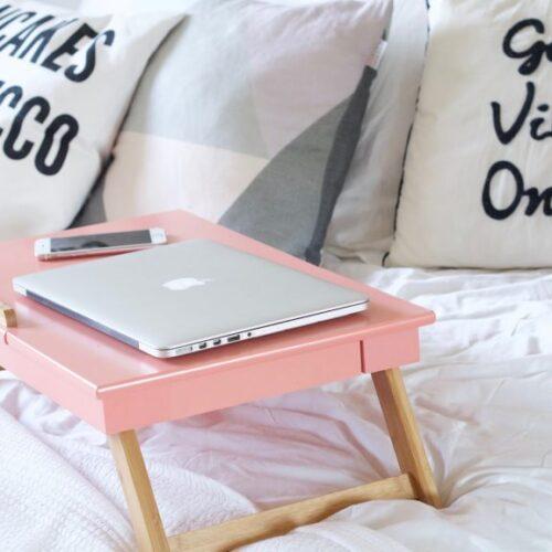 pink laptop table