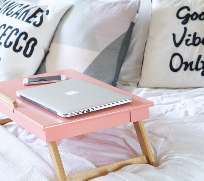pink laptop table